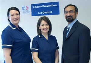 Craigavon Area Hospital Group Trust, 1st Prize Winners, Oxoid Infection Control Team of the Year 2005/2006.  Left to right:  Jemima Keyes, Trudy Reid, and Dr Nizam Damani.