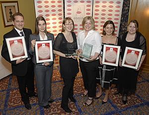 Some of the winners of the 2006/2007 Oxoid Food Awards, including Jessica Roberts (third from right), winner of the Oxoid Young Microbiologist of the Year Award.
