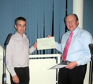 Dr Linton (left) receiving the 2007 WH Pierce Prize from Colin Booth, Director of Regulatory Affairs, Oxoid.  Photography copyright: Society for Applied Microbiology.