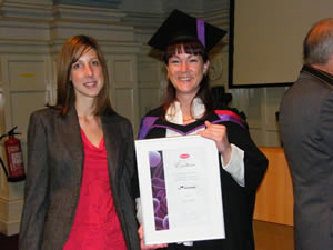 Mrs Gailyn White (right) receives the 2011 Oxoid Award for Excellence for the best performance on a BSc (Hons) Applied Biomedical Science degree course at the University of Portsmouth, UK, from Emma Scopes, Thermo Fisher Scientific.