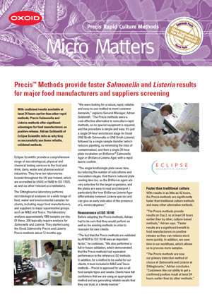 Download the Precis™ Salmonella and Listeria Rapid Culture Methods case study