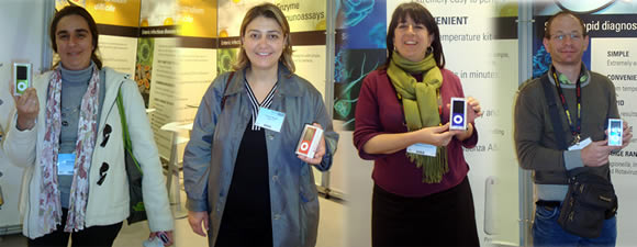 Lucky recipients of an i-Pod nano chromatic, the latest generation of Apple's i-Pod nano, in the Oxoid daily prize draw